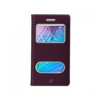 Lopard Samsung Galaxy J1 Pencereli Mor Dolce Kapaklı Deri Akıllı Kılıf
