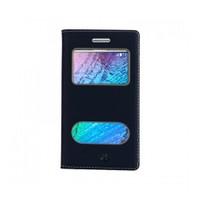 Lopard Samsung Galaxy J2 Pencereli Siyah Dolce Kapaklı Deri Akıllı Kılıf