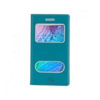 Lopard Samsung Galaxy J2 Pencereli Mavi Dolce Kapaklı Deri Akıllı Kılıf
