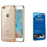 Teleplus İphone 6S Plus Lazer Silikon Kılıf Gold + Cam Ekran Koruyucu