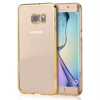 Microsonic Samsung Galaxy S6 Edge Kılıf Metalik Transparent Gold