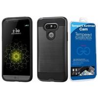 Teleplus Lg G5 Çift Katmanlı Korumalı Kılıf Siyah + Cam Ekran Koruyucu