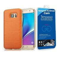 Teleplus Samsung Galaxy S7 Derili Metal Kılıf Kapak Gold + Cam Ekran Koruyucu