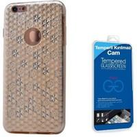 Teleplus İphone 6S Plus Desenli Silikon Kılıf Gold + Cam Ekran Koruyucu