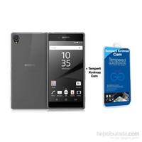 Teleplus Sony Xperia Z5 Silikon Kılıf Şeffaf + Cam Ekran Koruyucu