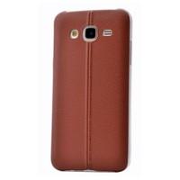 Teleplus Samsung Galaxy A8 Dikişli Silikon Kılıf Kahve