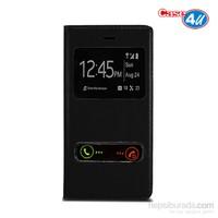 Case 4U Samsung Galaxy Ace 4 Pencereli Flip Cover Siyah