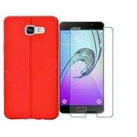 Kılıfshop Samsung Galaxy A5 2016 A510 Silikon Kılıf Dikiş Desenli - Kırmızı + Ekran Koruyucu