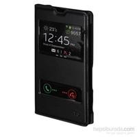 Inovaxis Sony Xperia T3 Çift Pencereli Flip Cover İnce Ve Koruyucu Kılıf Kapak Siyah
