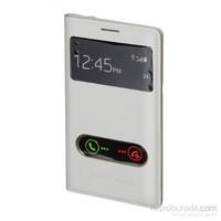 Inovaxis Samsung N7100 Note2 Çift Pencereli Flip Cover İnce Ve Koruyucu Kılıf Kapak Beyaz
