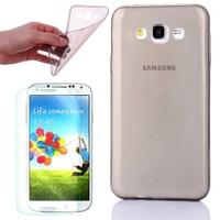 Cep Market Samsung Galaxy A8 Kılıf 0.2Mm Antrasit Silikon + Cam