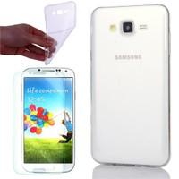 Cep Market Samsung Galaxy Core Prime Kılıf 0.2Mm Şeffaf Silikon + Cam