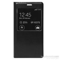 Case 4U Samsung Galaxy E5 Pencereli Flip Cover Kılıf Siyah