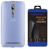 Cepsesuar Asus Zenfone 2 Ze551ml 5.5 İnç Kılıf Silikon 0.2 Mm Mavi + Cam