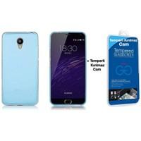 Teleplus Meizu M2 Note Silikon Kılıf Mavi + Temperli Cam Ekran Koruyucu