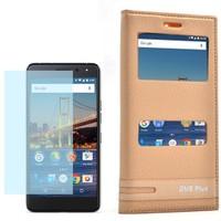 Cep Market General Mobile Gm5 Plus Kılıf Çift Pencere Elite + Cam