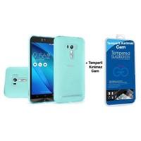 Teleplus Asus Zenfone Selfie Zd551kl Silikon Kılıf Mavi + Cam Ekran Koruyucu