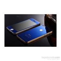 Teleplus İphone 5S Renkli Cam Ekran Koruyucu Ön + Arka Cam Ekran Koruyucu Mavi