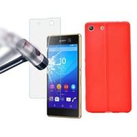Ksp Sony Xperia M5 Kılıf Silikon Kırmızı + Cam