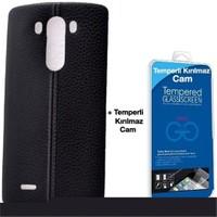 Teleplus Lg G3 Dikişli Silikon Kılıf Siyah + Cam Ekran Koruyucu