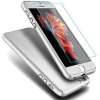 Microsonic İphone Se Kılıf Komple Full Gövde Koruma Cam Film Dahil Gümüş