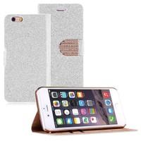Microsonic iPhone 6 Plus (5.5) Pearl Simli Taşlı Suni Deri Kılıf Beyaz - CS150-PRL-IP6P-BYZ