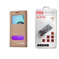 Lopard General Mobile Gm 5 Plus Kılıf Kapaklı Ellite Pencereli Deri + Temperli Ekran Koruyucu