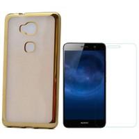 Teleplus Huawei Gr5 Tam Korumalı Silikon Kılıf Gold + Cam Ekran Koruyucu