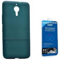 Teleplus General Mobile Gm 5 Plus Benekli Silikon Kılıf Yeşil + Cam Ekran Koruyucu