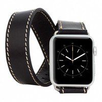 Burkley Apple Watch Çift Tur Rustic Black Gerçek Deri Kordon (42 Mm)