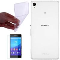 Cep Market Sony Xperia T3 Kılıf 0.2Mm Şeffaf Silikon + Cam