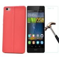 Kılıfshop Huawei P8 Lite Silikon Kılıf Dikiş Desenli + Ekran Koruyucu