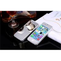 Teleplus İphone 4S Renkli Cam Ekran Koruyucu Ön + Arka Cam Ekran Koruyucu Gümüş