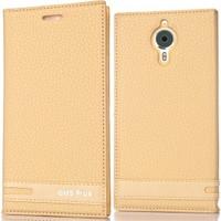 Coverzone General Mobile Gm5 Plus Kılıf Elite Deri Gold
