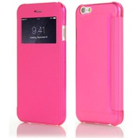 Microsonic Apple İPhone 6 Plus (5.5) View Cover Delux Kapaklı Pembe Kılıf