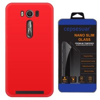 Cepsesuar Asus Zenfone 2 Laser Ze500kl 5 İnç Kılıf Silikon Kırmızı + Cam
