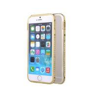 Microsonic İphone 6 Plus Taşlı Metal Bumper Kılıf Sarı