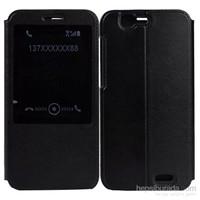 Case 4U Huawei Ascend G7 Pencereli Flip Cover Siyah Kılıf*