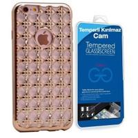 Teleplus İphone 6 Taşlı Silikon Kılıf Gold + Cam Ekran Koruyucu