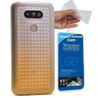 Teleplus Lg G5 Çift Renkli Tam Korumalı Silikon Kılıf Gold + Cam Ekran Koruyucu