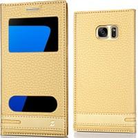 Coverzone Samsung Galaxy S7 Kılıf Çift Pencereli Elite + Cam