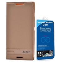 Teleplus Lenovo A7010 Mıknatıslı Lüx Kılıf Gold + Cam Ekran Koruyucu