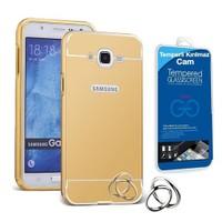 Teleplus Samsung Galaxy J5 Metal Aynalı Kapak Kılıf Gold + Cam Ekran Koruyucu