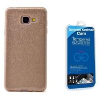 Teleplus Galaxy A7 2016 Simli Silikon Kılıf Gold + Cam Ekran Koruyucu