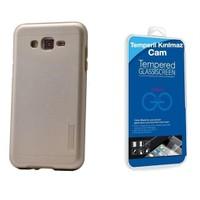 Teleplus Galaxy J5 Çift Katmanlı Kapak Kılıf Gold + Cam Ekran Koruyucu