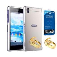 Teleplus Sony Xperia Z2 Aynalı Metal Kapak Kılıf Gümüş + Cam Ekran Koruyucu