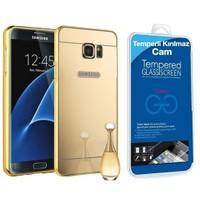 Teleplus Samsung Galaxy S7 Edge Aynalı Metal Kapak Gold + Cam Ekran Koruyucu Kavis Dahil
