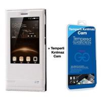 Teleplus Huawei G8 Lüx Pencereli Kılıf Beyaz + Temperli Cam Ekran Koruyucu