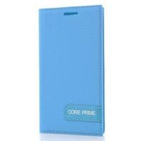 CoverZone Samsung Galaxy Core Prime Kılıf Safir Deri Mavi