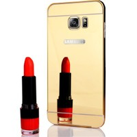 CoverZone Samsung Galaxy S6 Edge Kılıf Aynalı Metal Bumper Gold